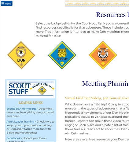 Cub Scout Den Leader Resources
